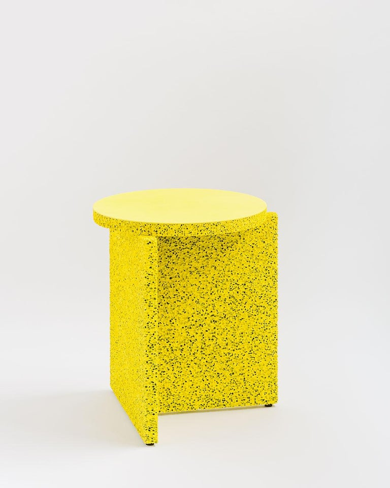 Minimalist Sponge Table, Calen Knauf, Occasional Side, Navy Painted, Foam Texture Aluminum  For Sale