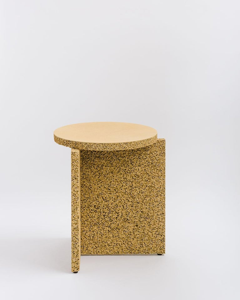 Canadian Sponge Table, Calen Knauf, Occasional Side, Navy Painted, Foam Texture Aluminum  For Sale