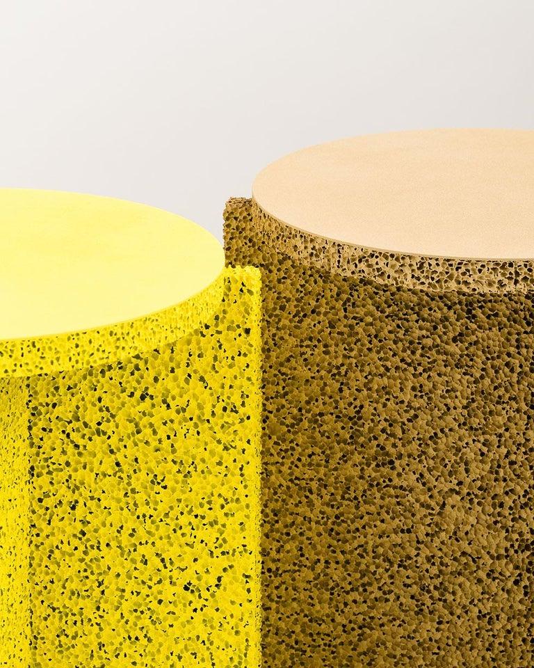 Sponge Table, Calen Knauf, Occasional Side, Navy Painted, Foam Texture Aluminum  For Sale 1