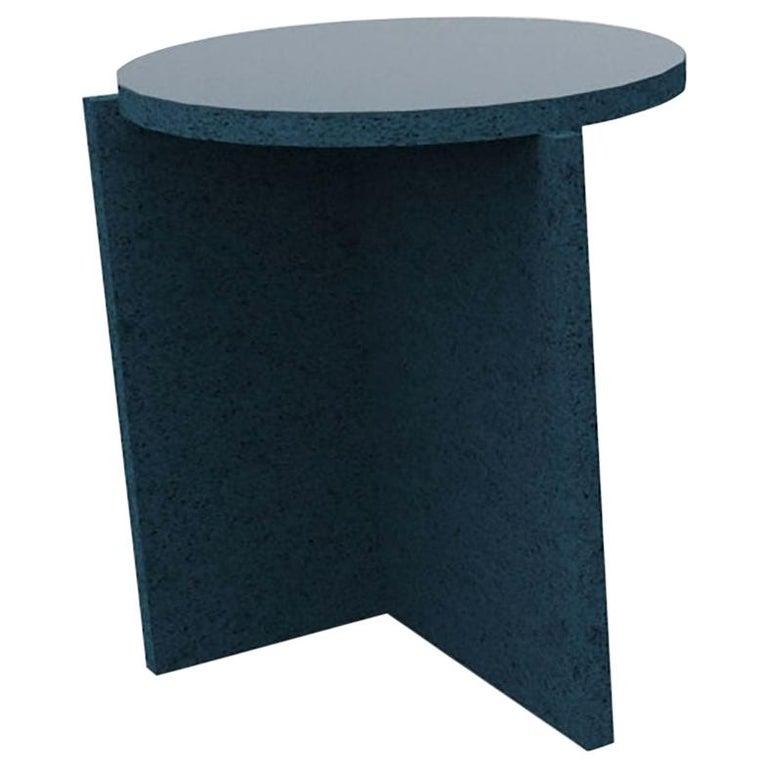 Sponge Table, Calen Knauf, Occasional Side, Navy Painted, Foam Texture Aluminum  For Sale