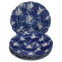 Sponge Ware 19th Century Luncheon  Plates / Set of Six