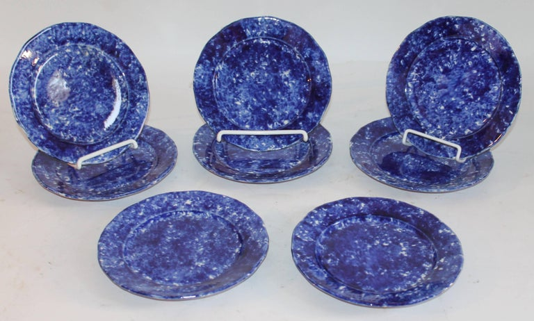 Country Sponge Ware 19th Century  Plates, Set of Eight For Sale