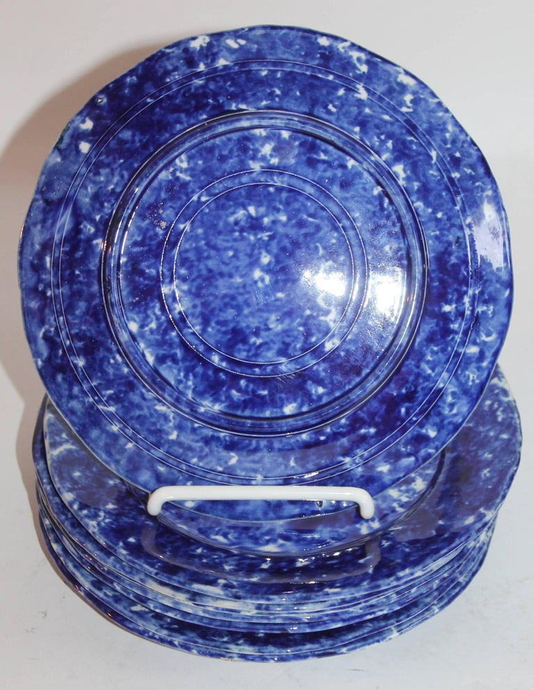 Sponge Ware 19th Century  Plates, Set of Eight In Excellent Condition For Sale In Los Angeles, CA