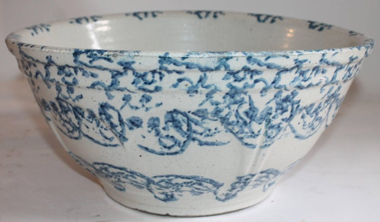 This monumental 19th century sponge ware bowl is in pristine condition and it measures 13.5