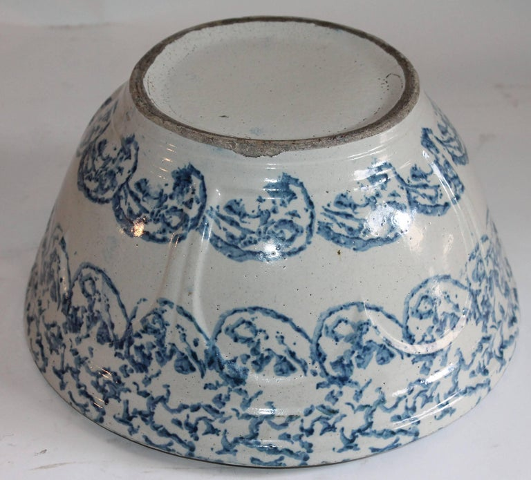 19th Century Sponge Ware Mixing or Fruit Bowl For Sale
