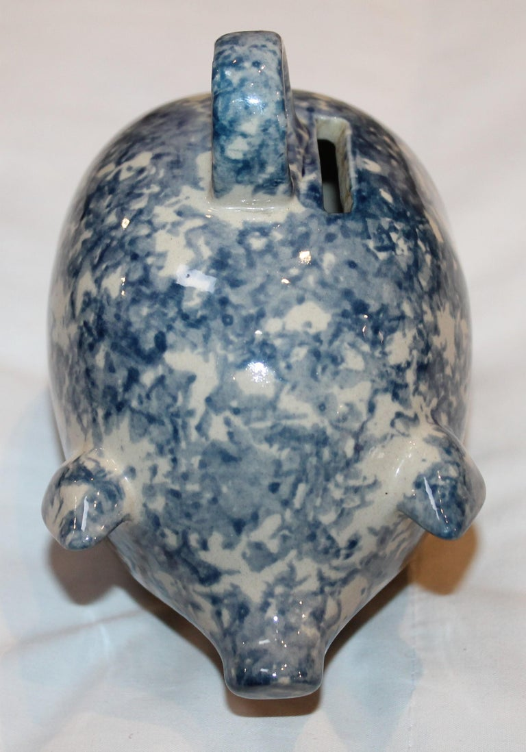 Country Sponge Ware Pottery Piggy Bank / Rare For Sale