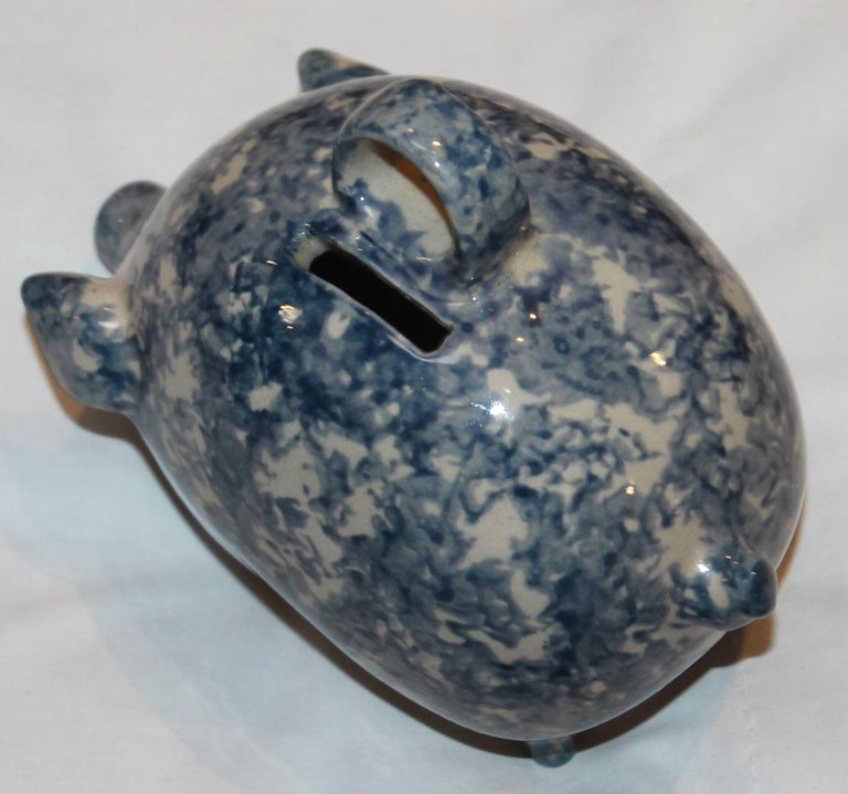 American Sponge Ware Pottery Piggy Bank / Rare For Sale