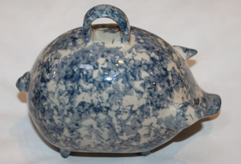 Early 20th Century Sponge Ware Pottery Piggy Bank / Rare For Sale