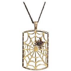 Spooktacular Large 18 Karat Gold Diamond Spider Web Pendant Necklace on Chain