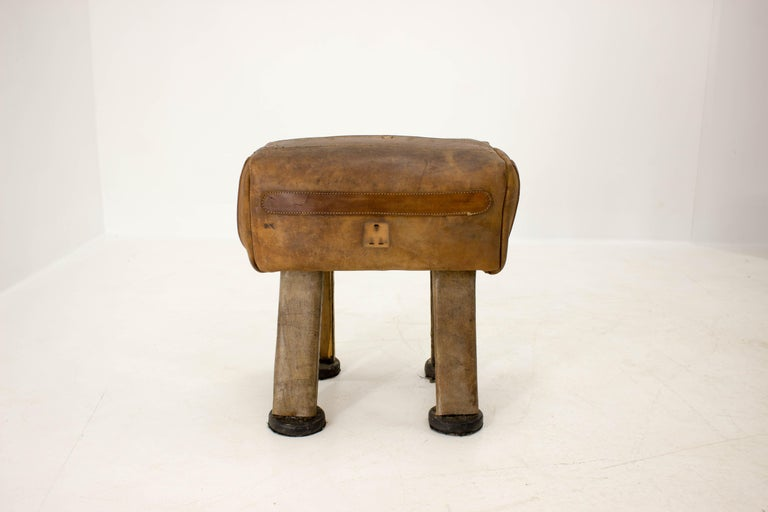 Made of cow skin and wood Very good original condition with nice patina Good ice-breaking piece!