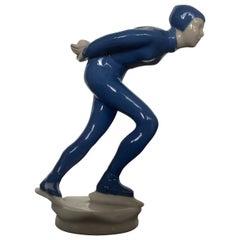 Sport Ceramic Sculpture Athlete Ice Skater by J.Hejdova Holeckova, 1950s
