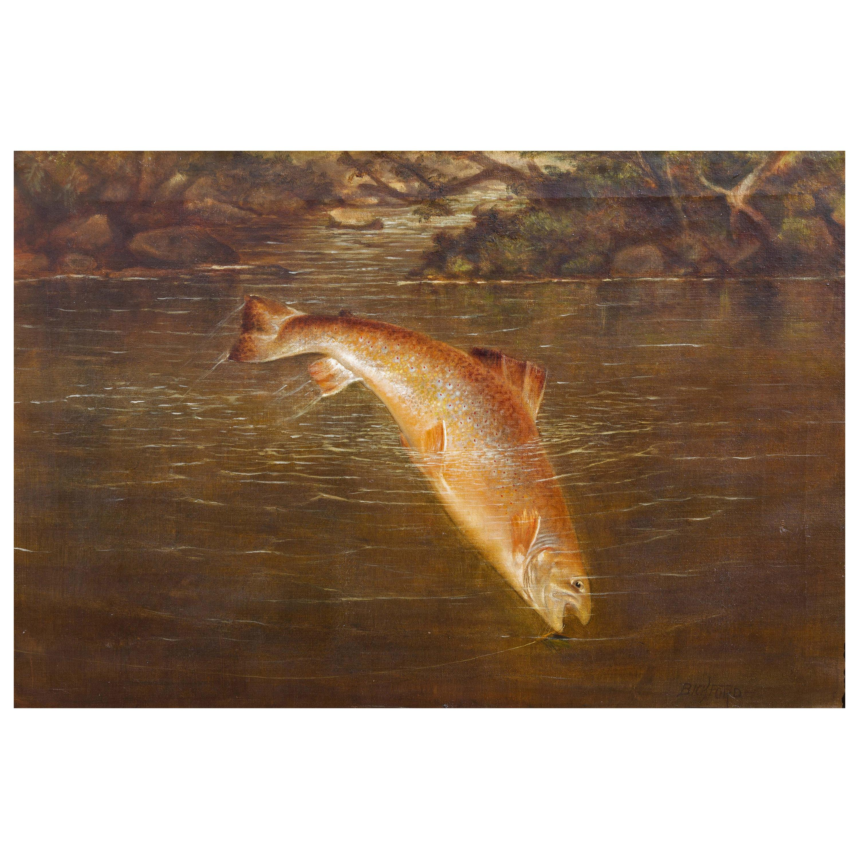 Sporting Painting Jumping Salmon Painting by Sid Bickford, 19th Century