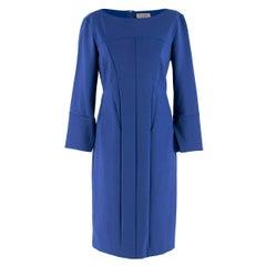 Sportmax Blue Fitted Seam and Stitch Detail Shift Dress M