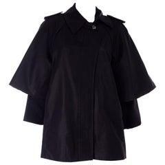 Sportmax Coat Italy Black Raincoat With Capelet