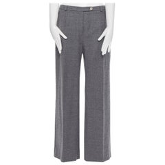 SPORTMAX grey virgin wool blend concealed front pocket wide leg pants US12 29""