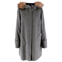 Sportmax Grey Wool Fur Trimmed Hooded Coat - Size US 8