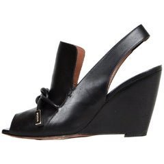 Sportmax Leather Wedge Shoes w/ Leather Tie sz 37
