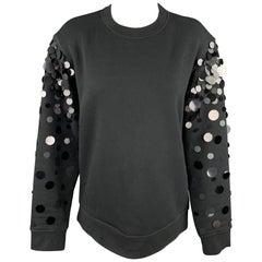 SPORTMAX Size M Black Cotton Blend Payette Sequin Sleeve Pullover Sweatshirt