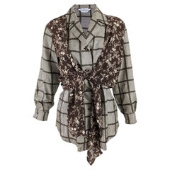 Sportmax Vintage Pure Silk Checked Blouse, 1990s