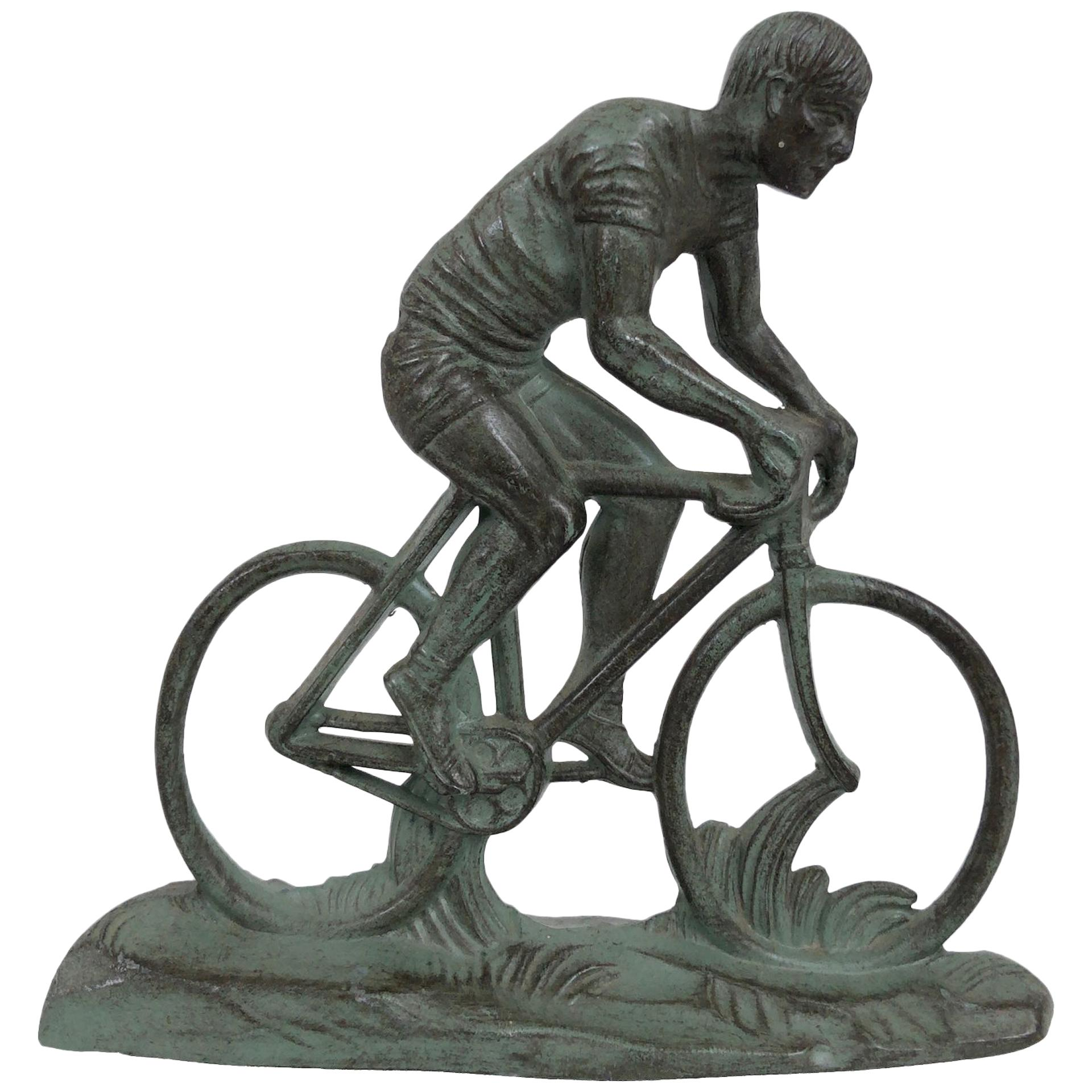 Sportsman on a Racing Bicycle, Sculpture in Spelter, Art Deco, France, 1930s