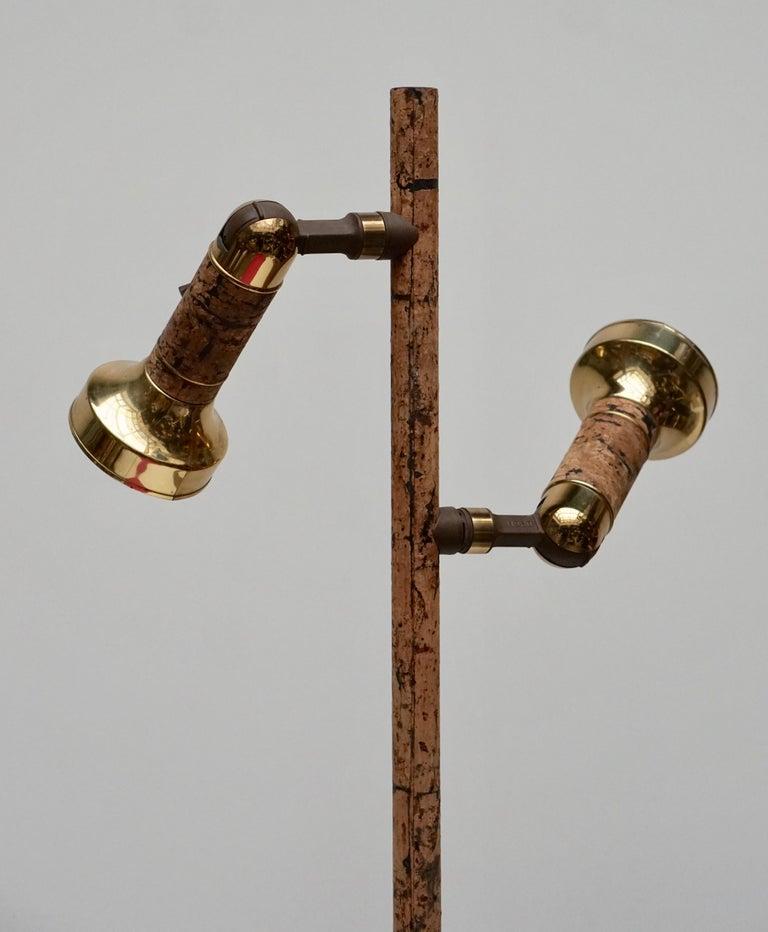 Mid-Century Modern Spotlight Floor Lamp in Brass and Cork For Sale