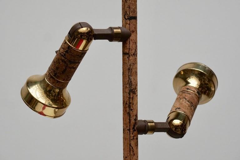 Italian Spotlight Floor Lamp in Brass and Cork For Sale