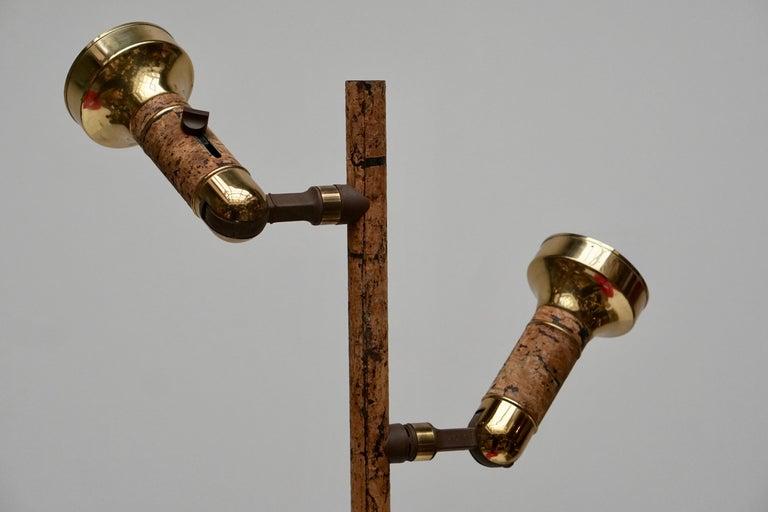 Spotlight Floor Lamp in Brass and Cork In Good Condition For Sale In Antwerp, BE
