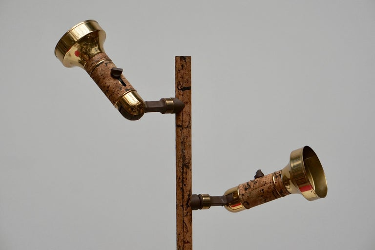 20th Century Spotlight Floor Lamp in Brass and Cork For Sale