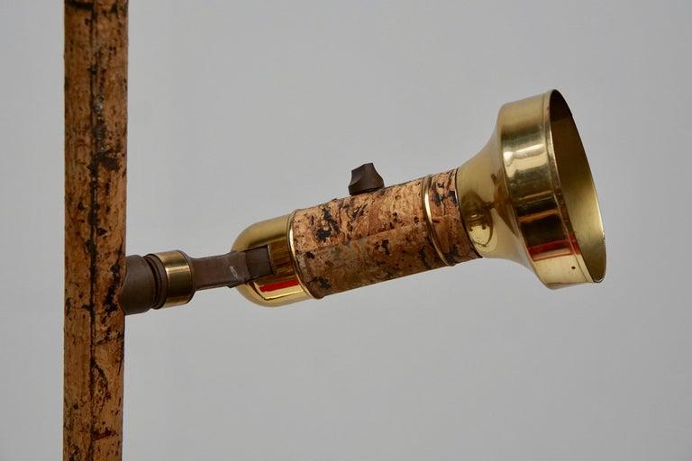Spotlight Floor Lamp in Brass and Cork For Sale 1
