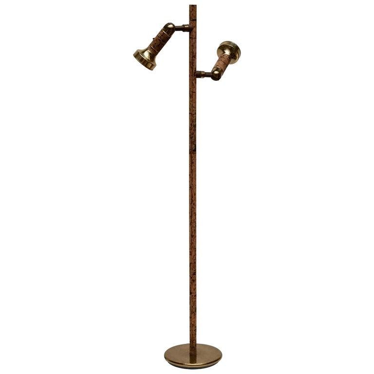 Spotlight Floor Lamp in Brass and Cork For Sale