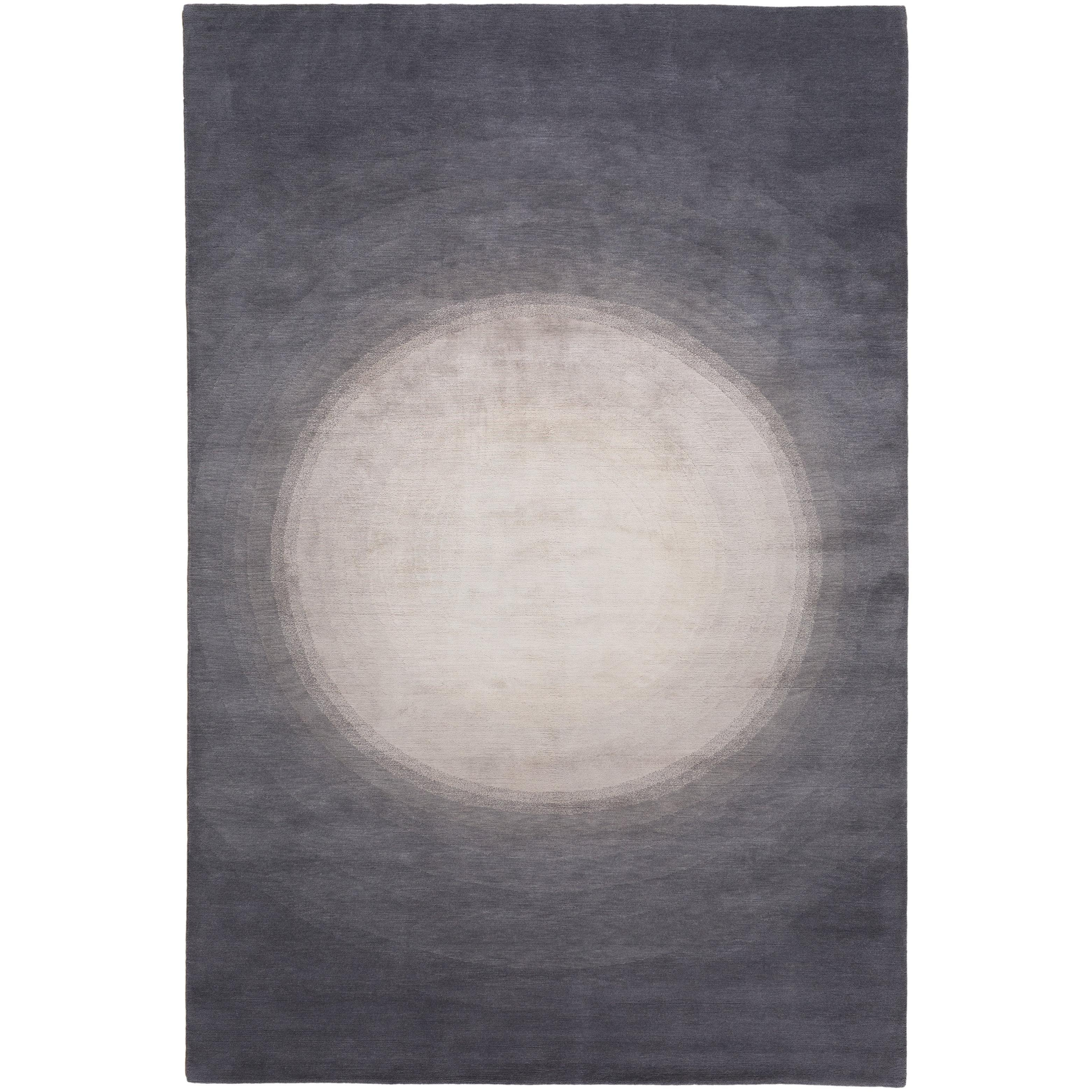 Spotlight Silver Hand-Knotted 10x8 Rug in Wool and Silk by David Rockwell