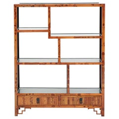 Spotted Bamboo Chinoiserie Curio Shelves Display Cabinet