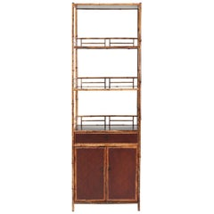 Spotted Bamboo Chinoiserie Display Cabinet/ Book Shelves