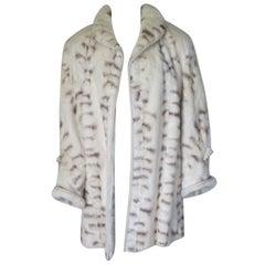 Spotted Design White Mink Fur Coat