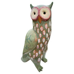 Spotted Owl Big Sculpture Hand-Painted by Eva Fritz-Lindner