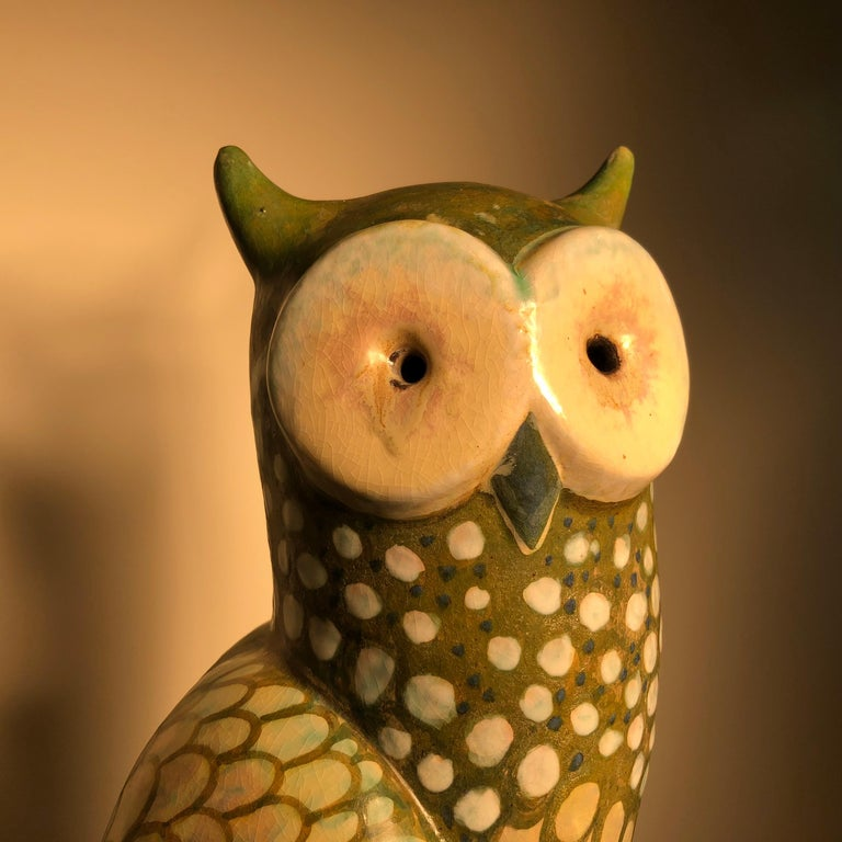 Spotted Owl Tall Master Work Sculpture Hand-Painted by Eva Fritz-Lindner For Sale 2