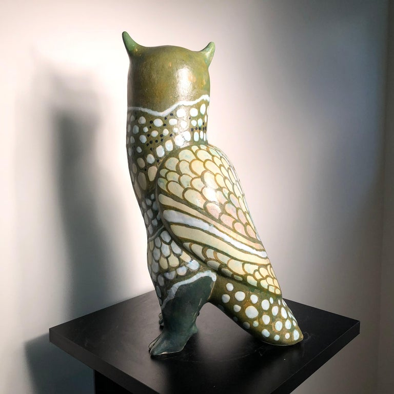 Spotted Owl Tall Master Work Sculpture Hand-Painted by Eva Fritz-Lindner For Sale 3