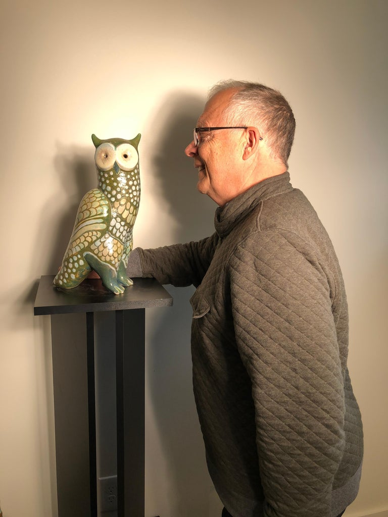 Big Bird  A fine green spotted owl master work sculpture designed and hand-painted by Eva Fritz-Lindner (1933-2017).  This is a tall, creative handmade, hand painted and hand glazed sculpture of a spotted owl. It was designed and hand painted by the