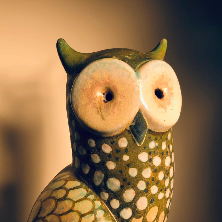 German Spotted Owl Tall Master Work Sculpture Hand-Painted by Eva Fritz-Lindner For Sale