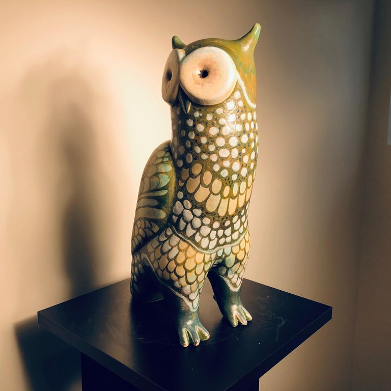 Hand-Crafted Spotted Owl Tall Master Work Sculpture Hand-Painted by Eva Fritz-Lindner For Sale
