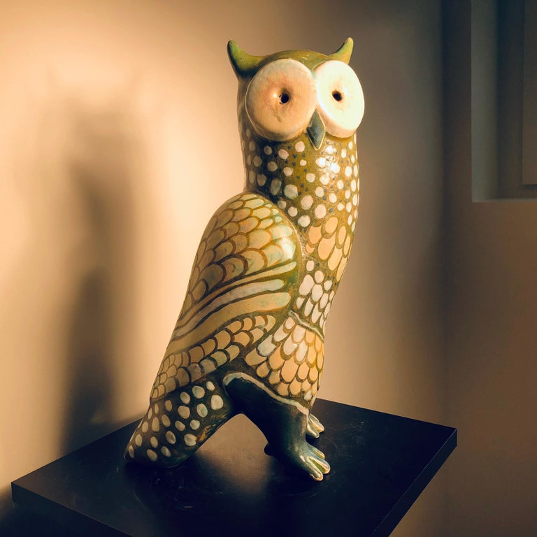 Ceramic Spotted Owl Tall Master Work Sculpture Hand-Painted by Eva Fritz-Lindner For Sale