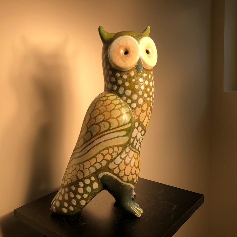 Spotted Owl Tall Master Work Sculpture Hand-Painted by Eva Fritz-Lindner For Sale 1