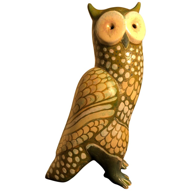 Spotted Owl Tall Master Work Sculpture Hand-Painted by Eva Fritz-Lindner For Sale