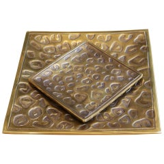 Spotted Set of 2 Tray in Vintage Brass