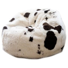Spotted Shearling Sheepskin Bean Bag Chair, Made in Australia