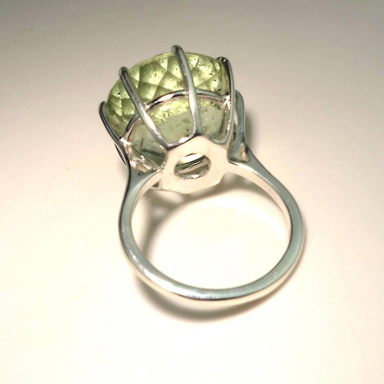 Sparkling Green Beryl in Sterling Ring For Sale 1