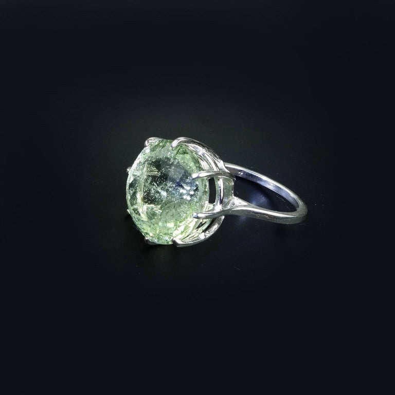Sparkling Green Beryl in Sterling Ring For Sale 2