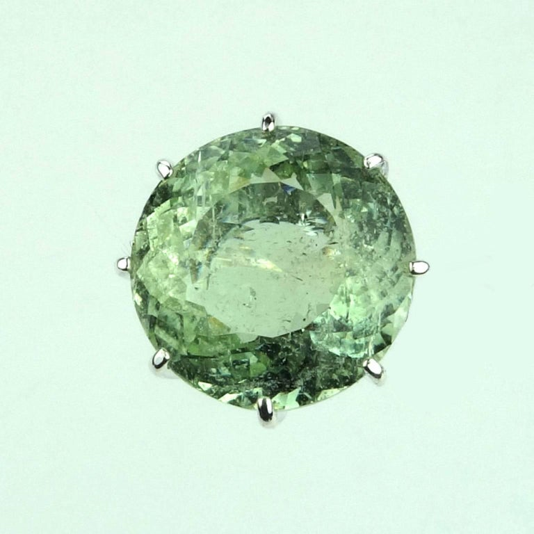 Sparkling Green Beryl in Sterling Ring For Sale 3