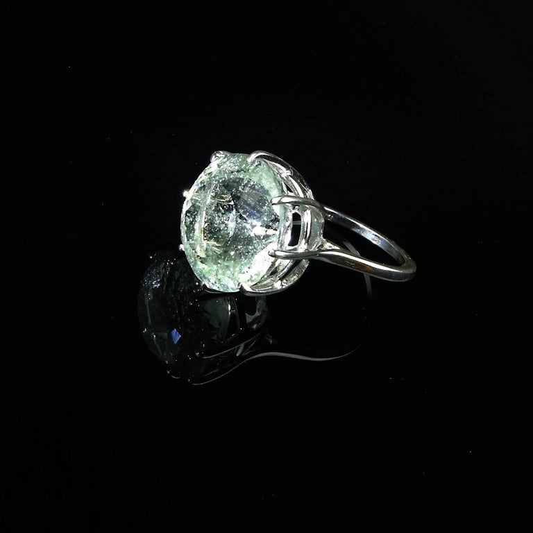 Sparkling Green Beryl in Sterling Ring For Sale 5