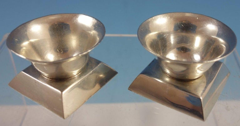Spratling  Mexican sterling silver by William Spratling pair of salt cellars. The cellars measure 1 1/4 x 1, and they weigh 1.4 ozt. They are not monogrammed and are in excellent condition. Fantastic!